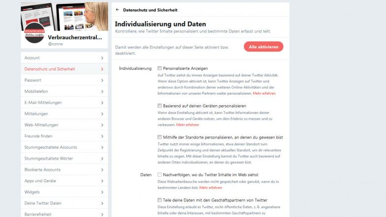 Screenshot Twitter Individualisierung